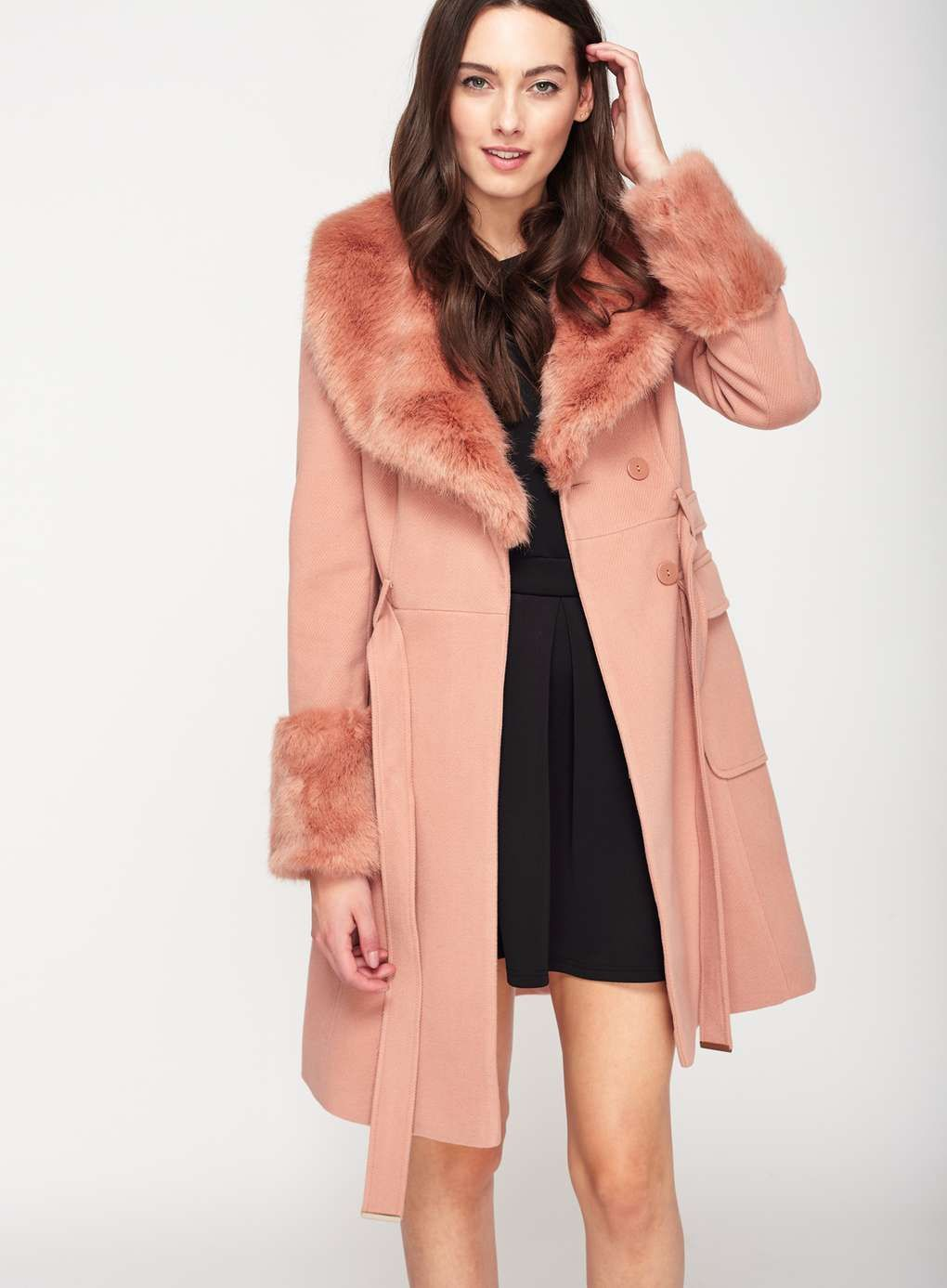 4e7b45dd45c5 Faux Fur Cuff And Collar Coat | Jackets and Coats | Pink faux fur ...