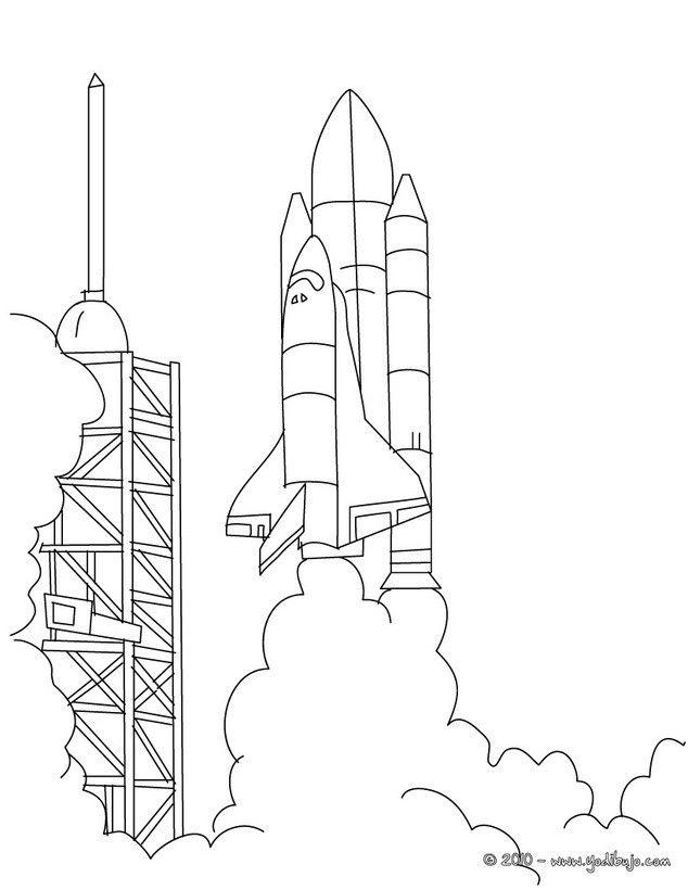 Dibujo para colorear LANZAMIENTO DEL COHETE | Niños | Prints y Templates