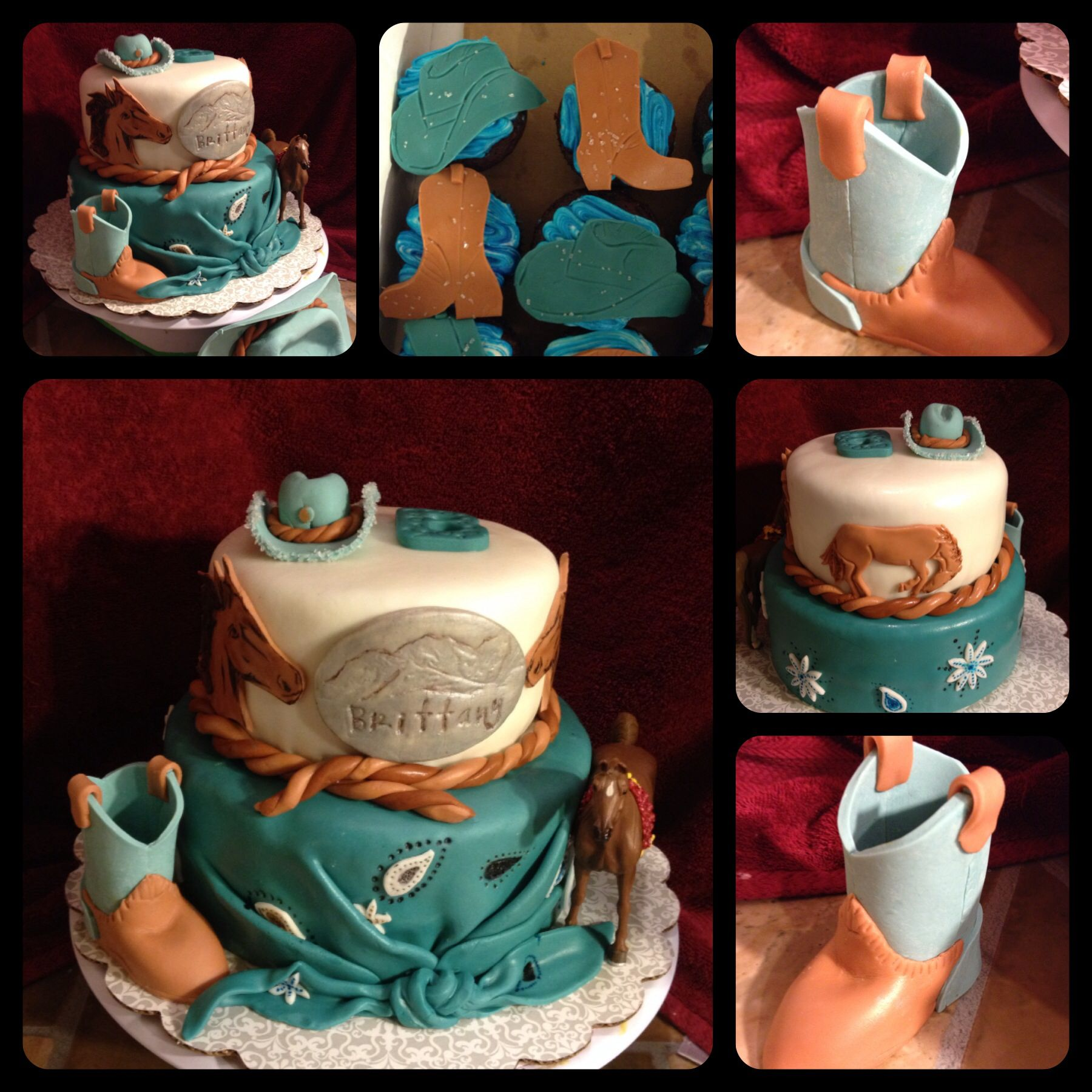 CowgirlHorse themed cake and matching cupcakes Cakes Ive made