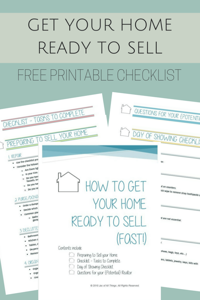 Get Your House Ready To Sell Free Printable Checklist Things