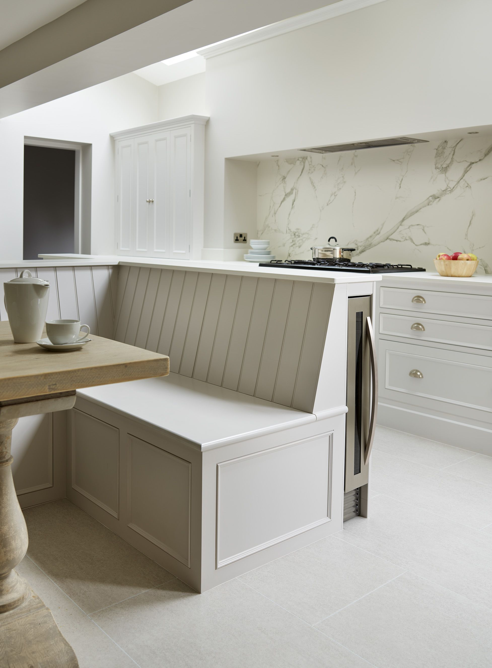 This Original Kitchen Features A Slim Wine Chiller That We Have Built Into Our Bench Seating Kitchen Seating Bench Seating Kitchen Banquette Seating In Kitchen