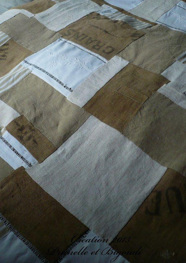 tissu ancien et toile de jute diy with vintage linens. Black Bedroom Furniture Sets. Home Design Ideas