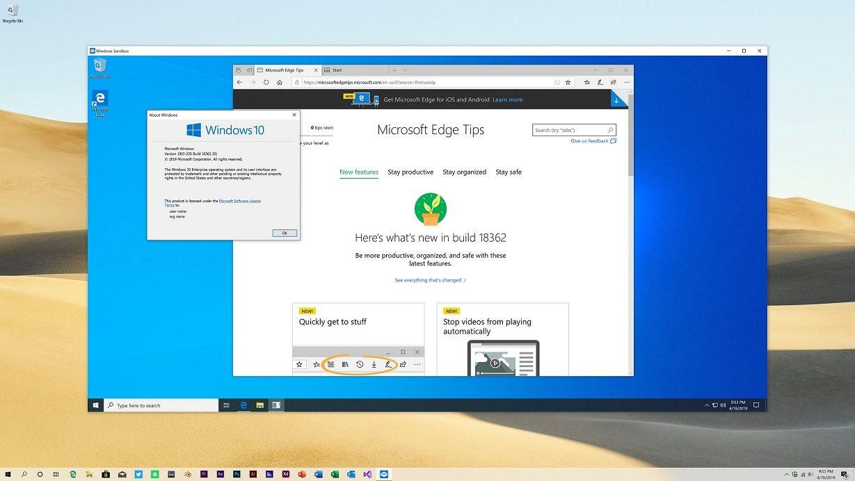 Sandbox broken in Windows 10 May 2019 Update for some