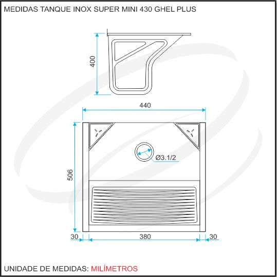 Tanque Inox 440x505x400 SUPER MINI - GhelPlus - Hidronox - Casa das pias e cubas em inox