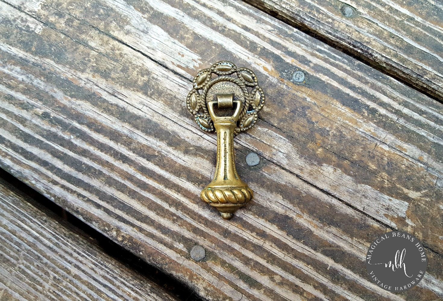 Keeler Br Co Teardrop Pull Gold Drawer Vintage Antiqued Cabinet Pulls Pendant Victorian Furniture