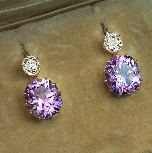 French Earrings, Upcycled pendants Vintage Amethyst Earrings Porcelain Earrings Purple Crystal Earrings Vintage Amethyst Crystals