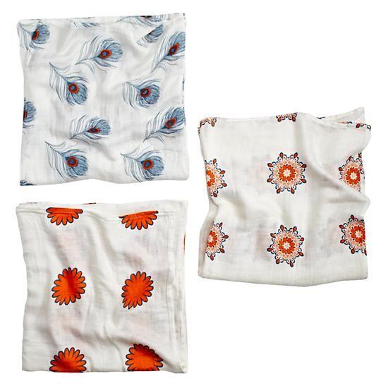 Orange Print Silky Soft Swaddle Blankets  | The Land of Nod
