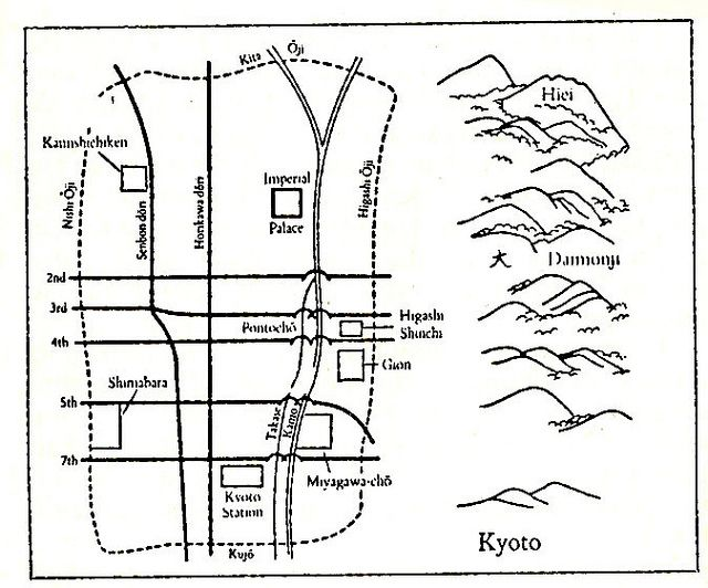 map of Kyoto hanamachi (Geisha districts).