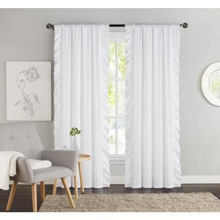 Victoria Classics Amber Side Ruffle Black Out 84 Inch Curtain Panel Pair White