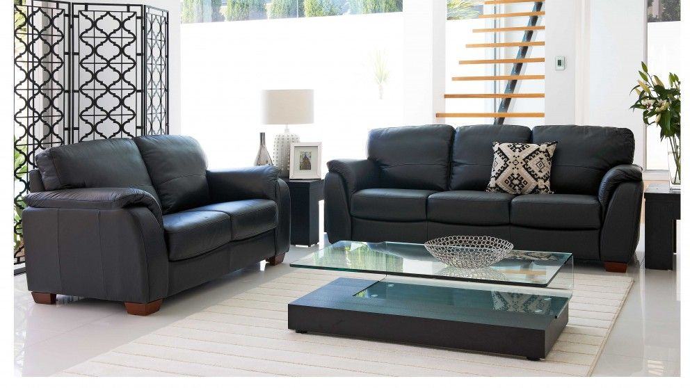 Alyssa 2 piece leather lounge suite lounges living - Harvey norman living room furniture ...