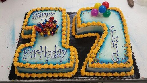 Simple 17 Birthday Cake Each Number Cut From 1 4 Sheet