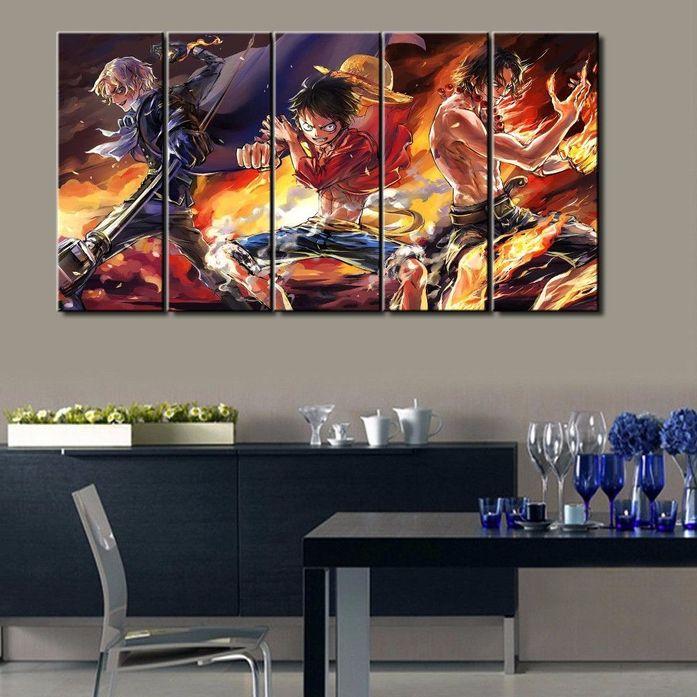 5 piece anime one piece canvas canvas collection living room