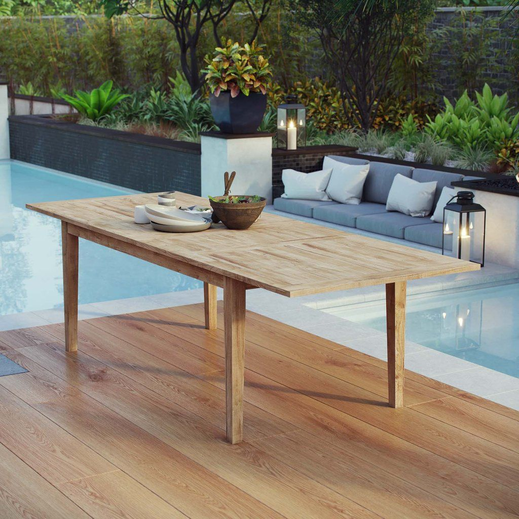 Modway Marina Extendable Outdoor Patio Teak Dining Table In 2020 Teak Dining Table Patio Dining Table Outdoor Dining Table