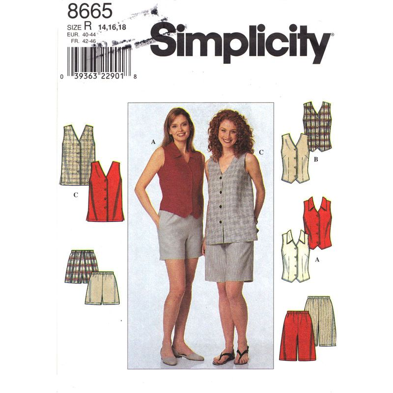 Womens Top and Shorts Pattern Simplicity 8665 Loose or Fitted Vest ...