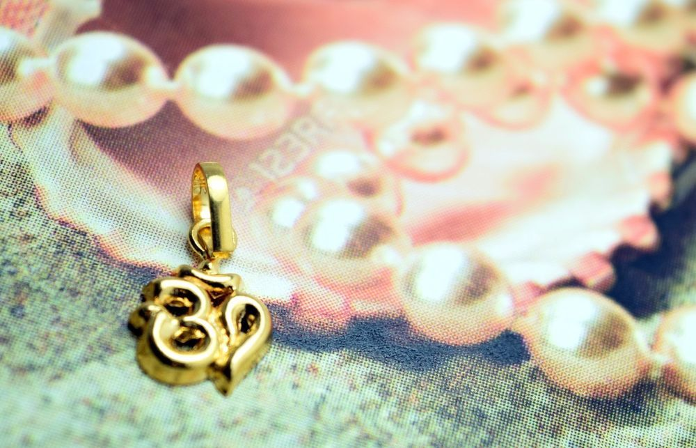 22k 22ct Solid Gold Hindu Religious OM OHM AHM 3DPendant charm FREE