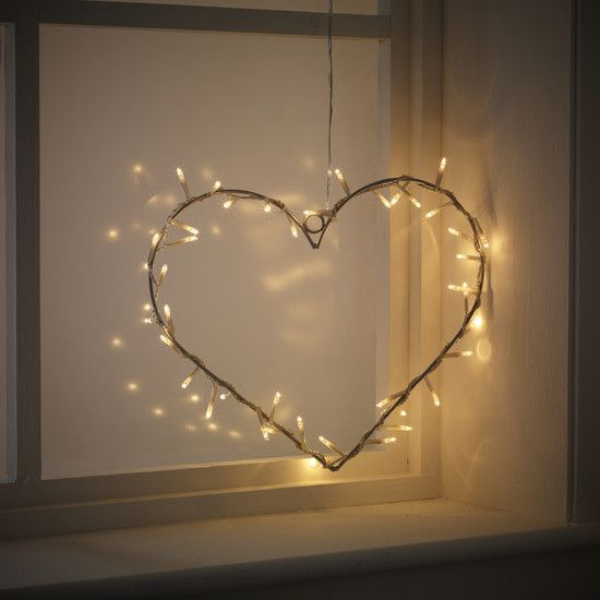 Valentine Day With Small Glass Window And Heart Shaped Hanging Ornaments  Also Pretty Tiny Led Lamps