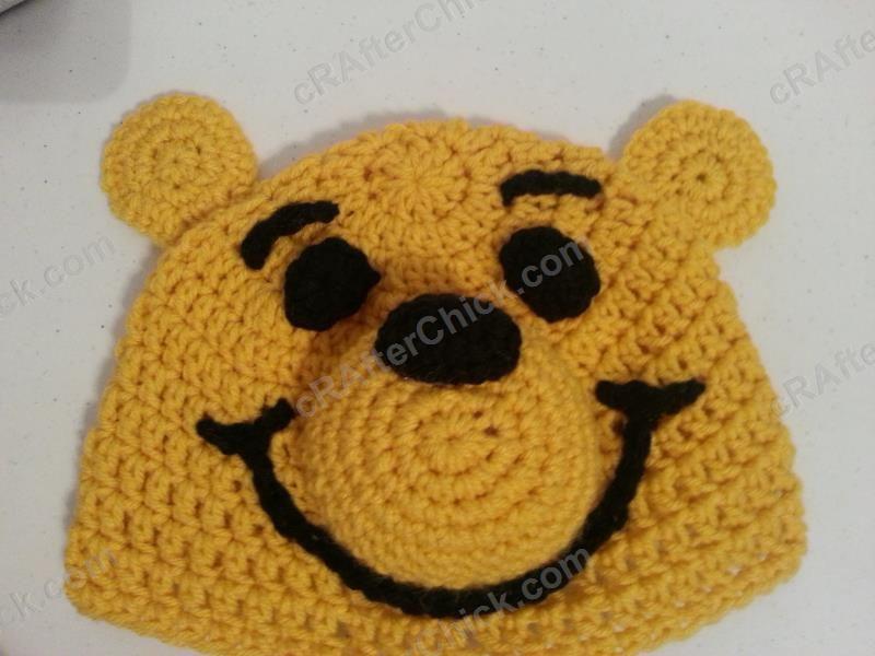 686e0d1e6c0 Winnie the Pooh Bear Beanie Hat Crochet Pattern - free crochet hat pattern  from cRAfterChick.com
