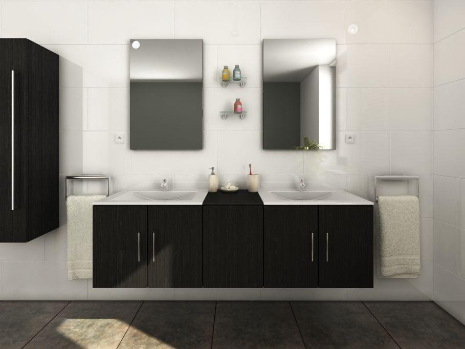 ensemble de salle de bain gisele avec double vasque et miroir prix promo meuble de salle de bain vente unique ttc au lieu de 685