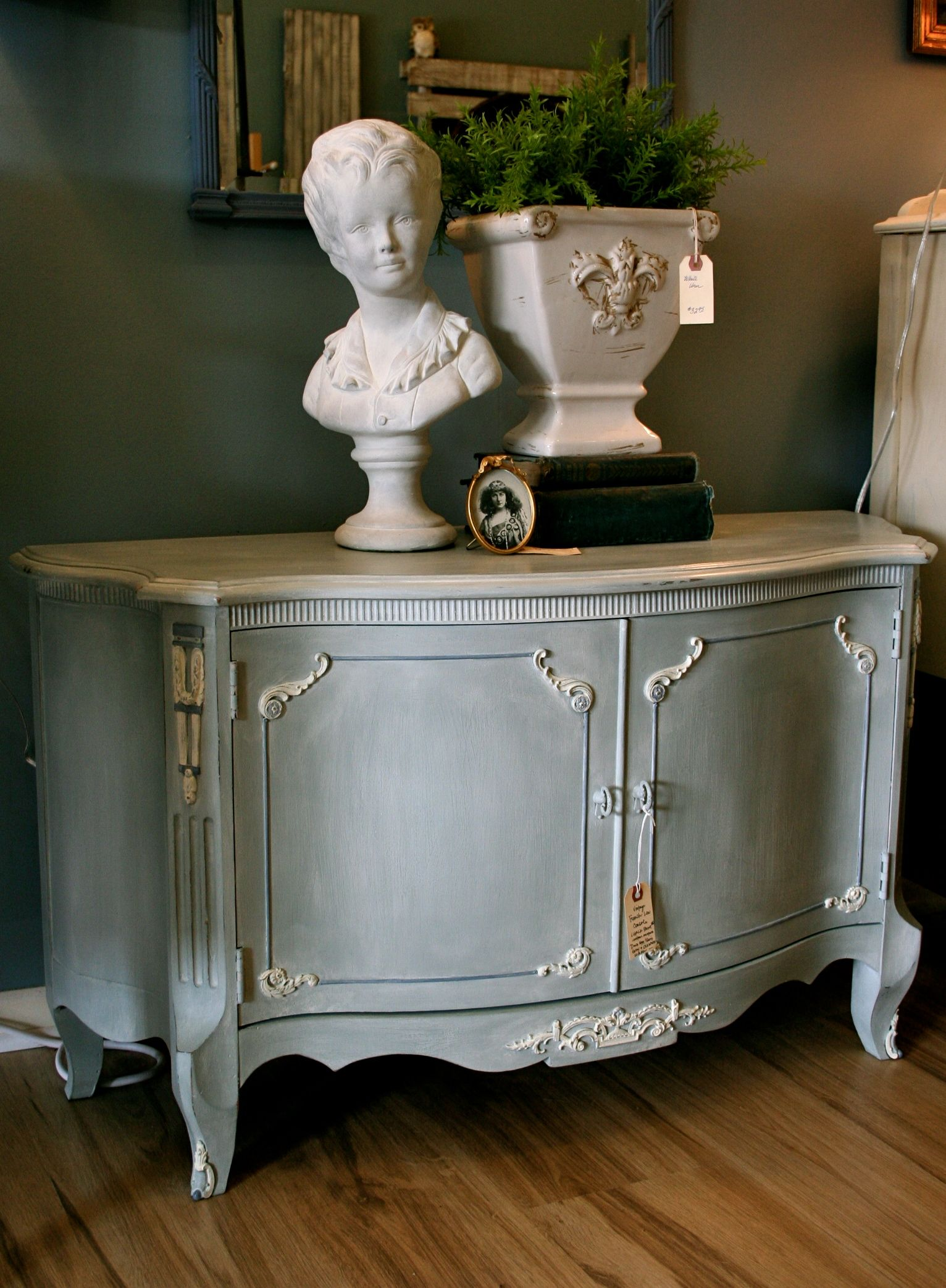 Vintage low console table in a mixture of Chalk Paint® Duck Egg & Paris Grey with Chalk Paint® Old Violet accents and an Old White wash.