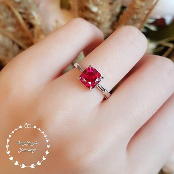 Cushion Cut Ruby Ring 1 5 Carat Lab Stone Pigeon S Blood