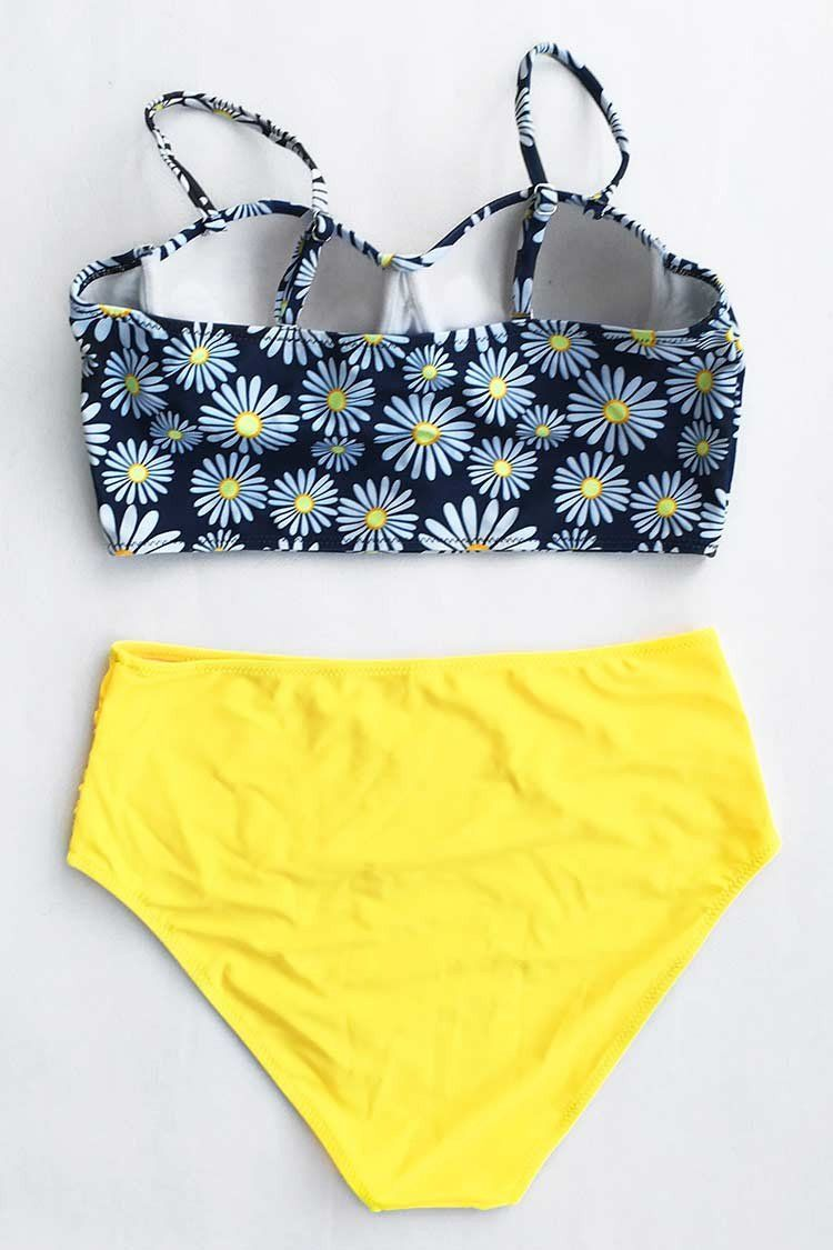 0fb994b46225 Cupshe Flower Play Daisy High-waisted Bikini Set