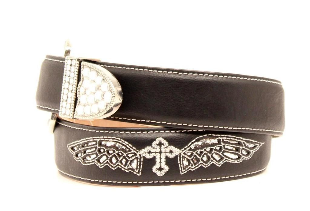 1fbb2aca Blazin Roxx Girls Black Leather Cross- Wing Embroidered Belt ...