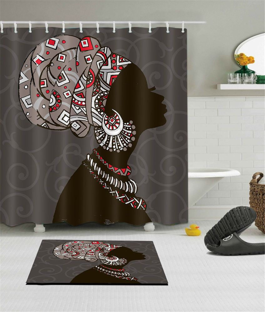Waterproof Fabric Bathroom African Woman Shower Curtain ...