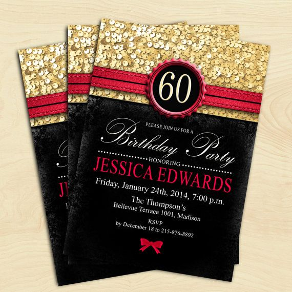 Women 60th Birthday Invitation 70th 80th 90th Any Age Black Red Gold Digital Printable Customized