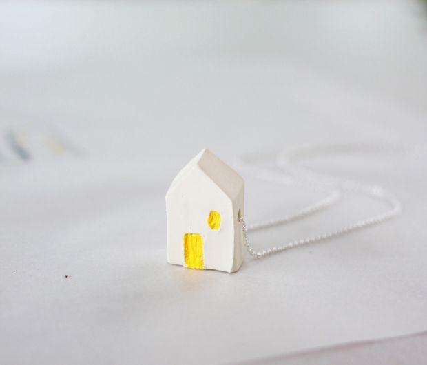 DIY Miniature Clay House Necklace Tutorial
