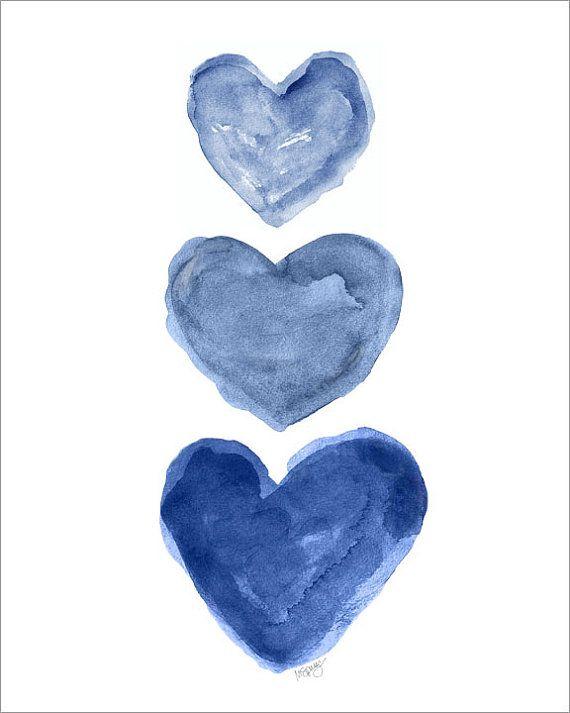 Indigo Watercolor Heart Art Print 8x10 Denim by OutsideInArtStudio