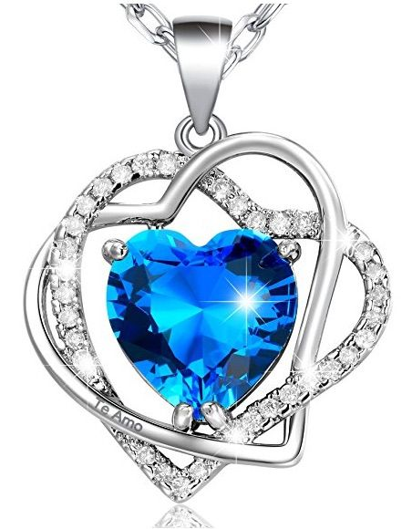 58181f1a388b MARENJA Collar Mujer de Moda Chapado en Oro Blanco Doble Corazón  Entrelazado con Cristal Azul