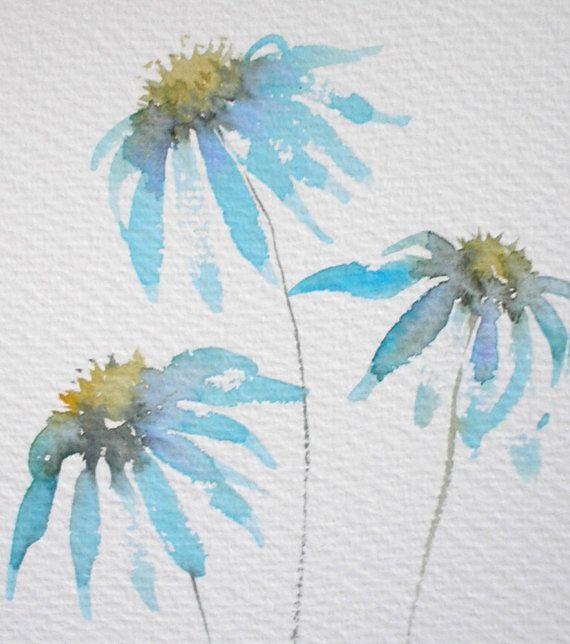 Vente peinture l aquarelle d art originale echinacea for Vente de fleurs par correspondance