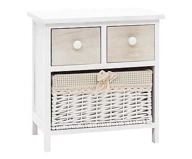 Mesa auxiliar en madera y mimbre - blanco y beige