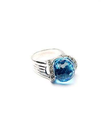 Another great find on #zulily! Light Blue Faceted Crystal Sterling Silver Ring #zulilyfinds