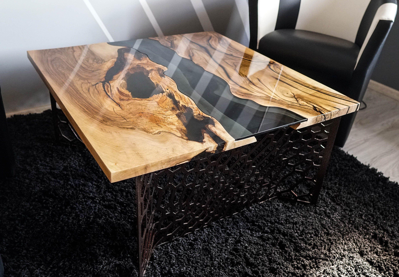 Live Edge Square River Dark Walnut Coffee Table Etsy Walnut Coffee Table Coffee Table Handcrafted Coffee Table [ 2088 x 3000 Pixel ]