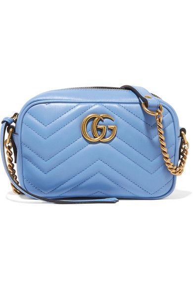 512f8b1b64ef GG Marmont Camera mini quilted leather shoulder bag Sky Blue leather ...