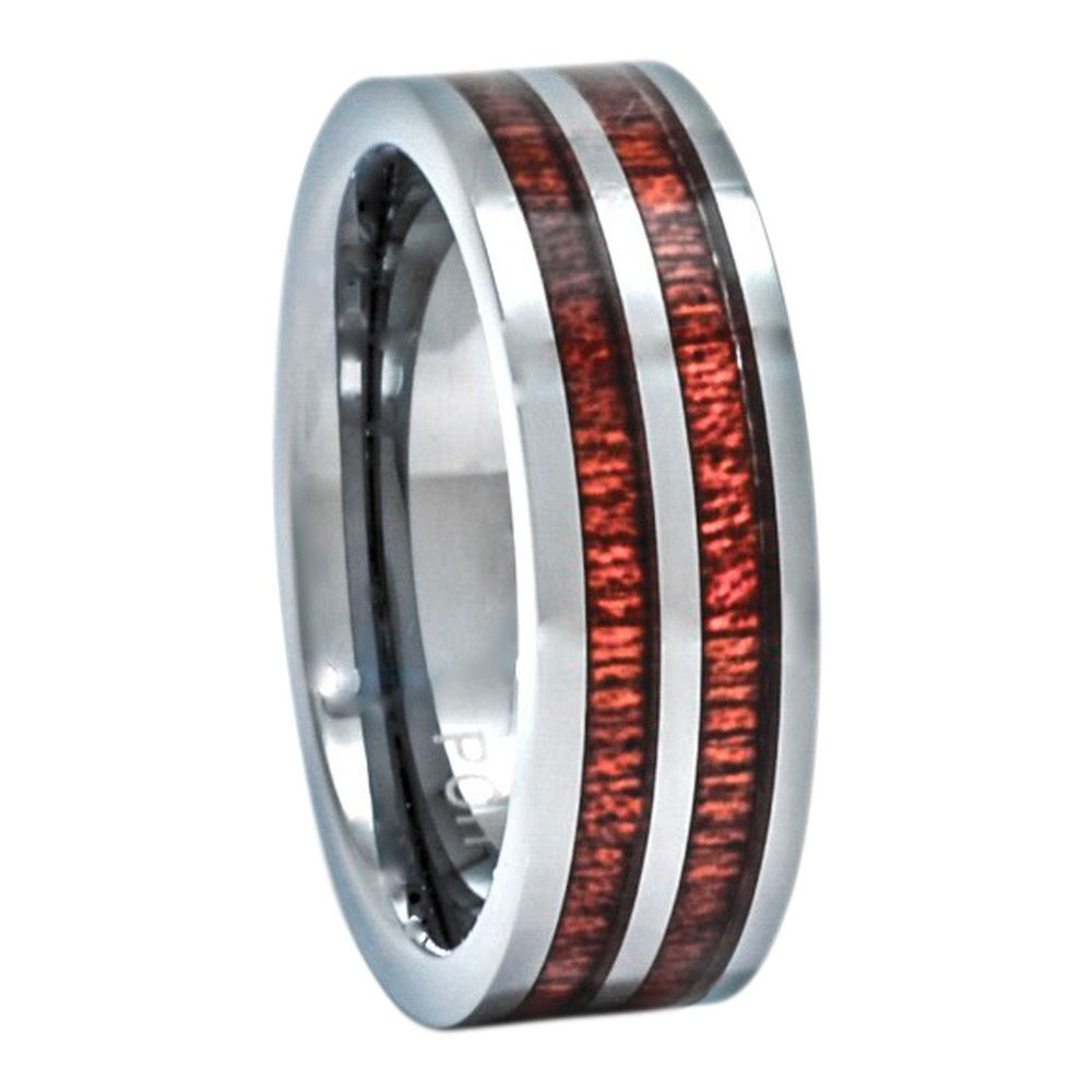 Details about mens hawaiian koa wood ring tungsten