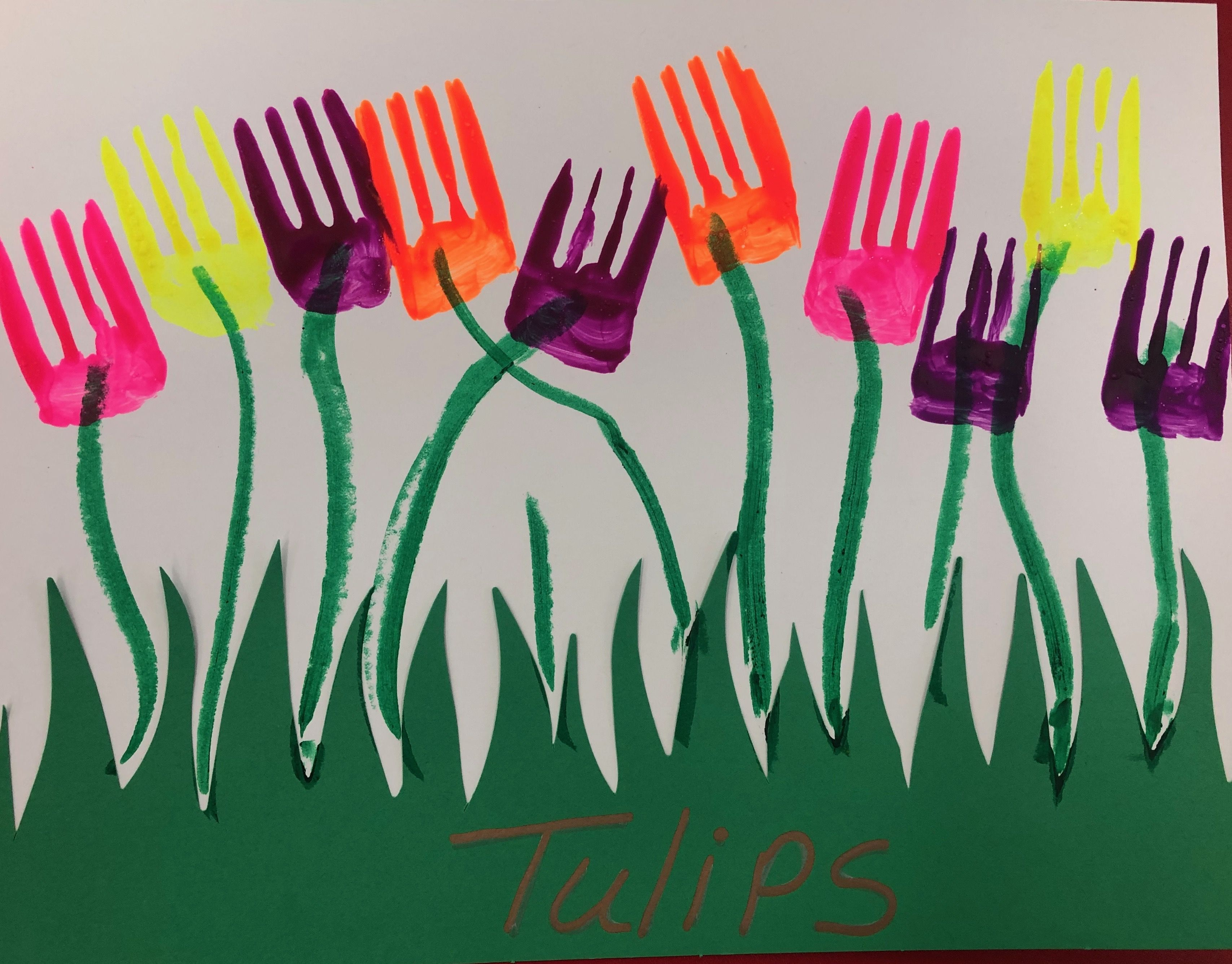 T Tulips Fork Painting V1 Kids Painting Crafts Painting Crafts Tulips Art [ 2672 x 3414 Pixel ]