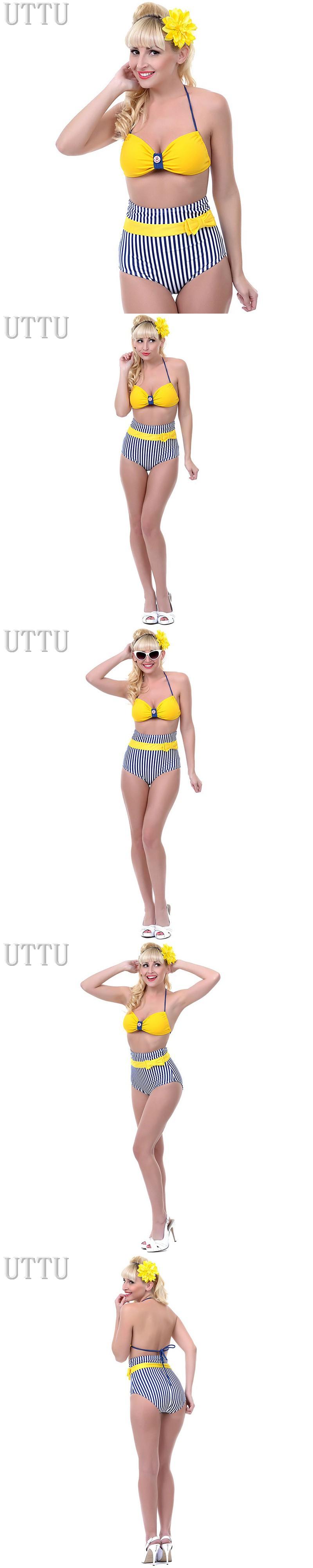 2016 New Arrival Striped Printed High Waist Bikini Set Sexy Halter Bandage Push Up Swimsuit  Swimwear Women Padded Bra Beachwear $12.99