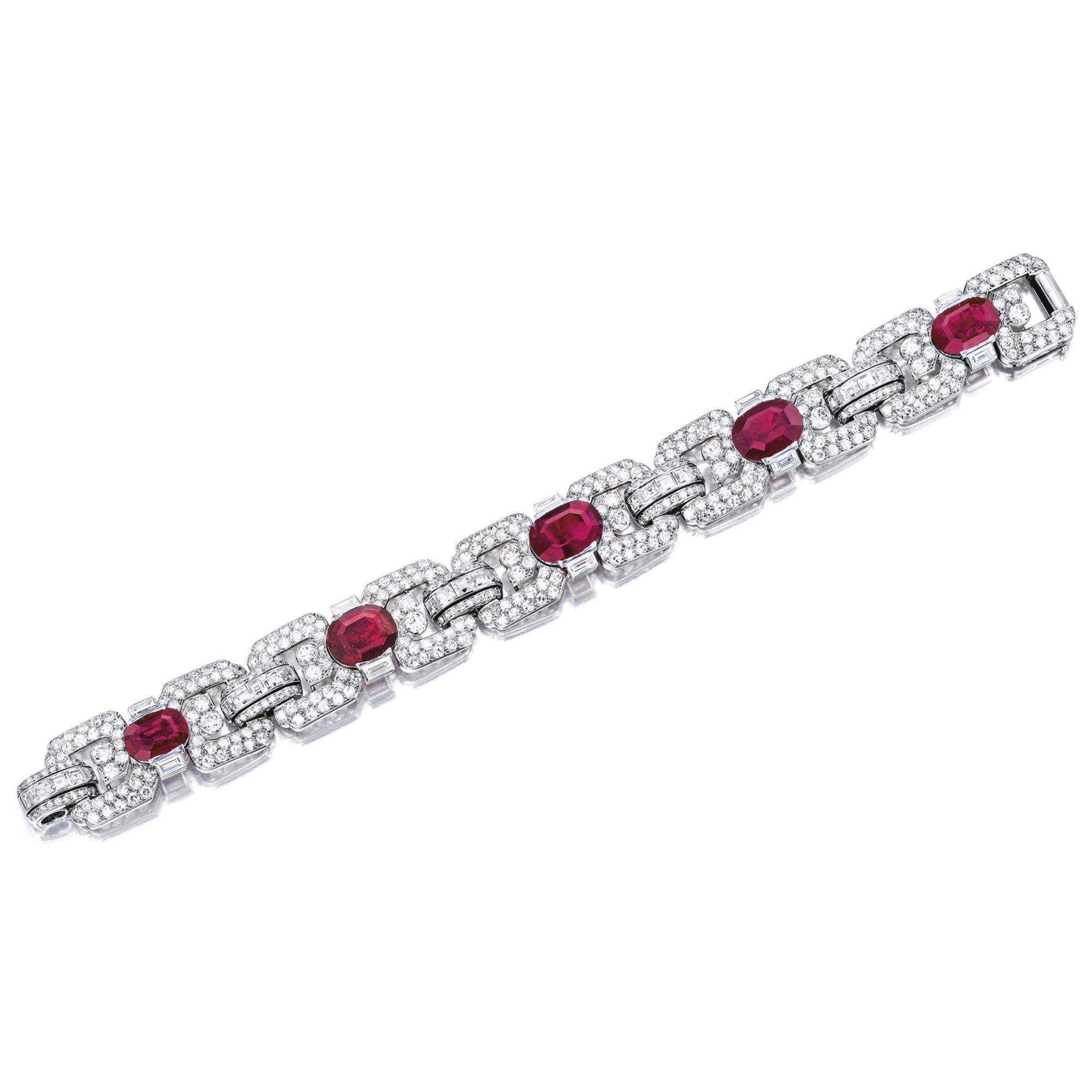 f940c24663bec Important Art Deco Ruby and Diamond Bracelet, Cartier, Paris ...