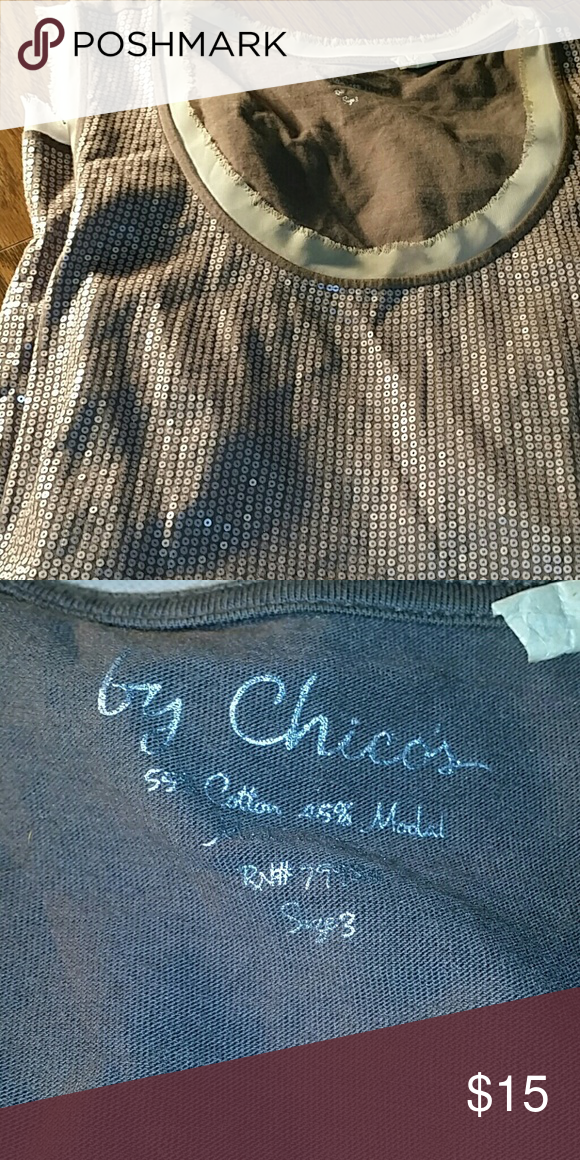 CHICO'S Sequin tank!!! Cute tan sequin CHICO'S tank!!! Chico's size 3 is equivalent to 16/18. Chico's Tops Tank Tops