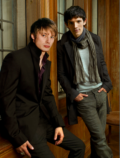 Bradley James and Colin Morgan...as another pinner said...This would totally be what modern Arthur and Merlin would wear.