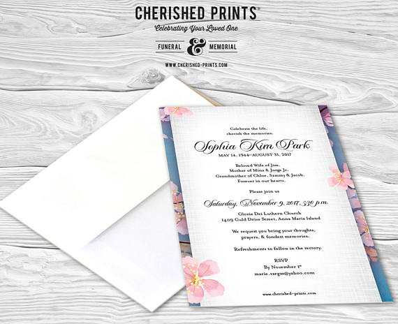 Cherry Blossoms Mourning Card, Invitation, Memorial Service ...