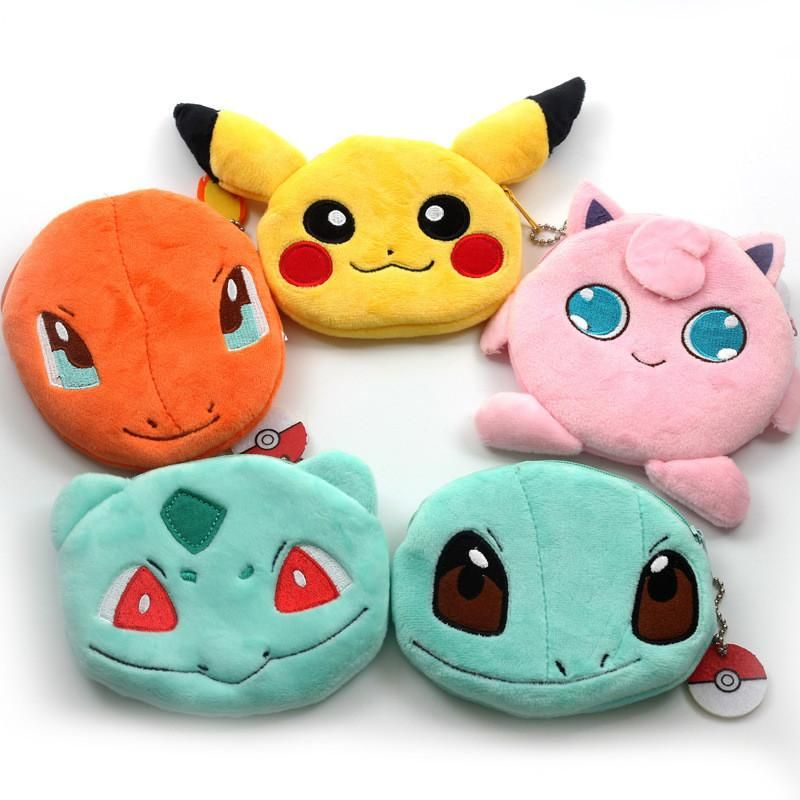 Pikachu Squirtle Charmander Bulbasaur Jigglypuff Coin Purse Unisex Wallet Multi-functional Kawaii Bag Cartoon Pendant Plush Toys