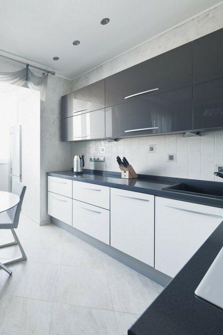 cuisine blanche laquée deco gris | kitchenz and me | White ...