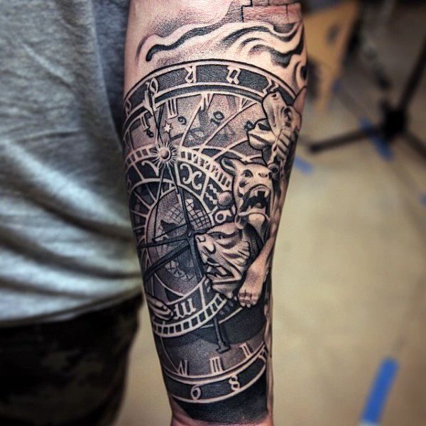 Clock movement tattoos mens forearm sleeves black and for Forearm tattoo sleeves