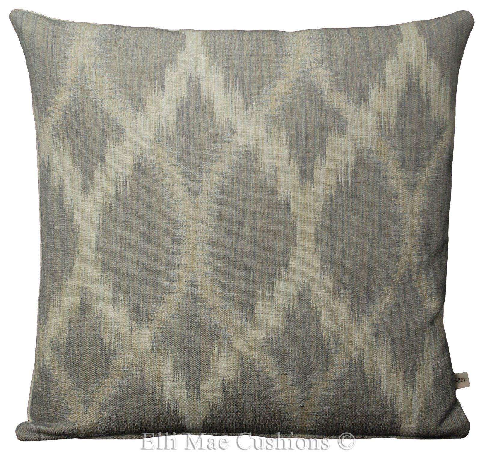 Jane Churchill Fontane Grey Cream Ikat Style Cotton Sofa Cushion