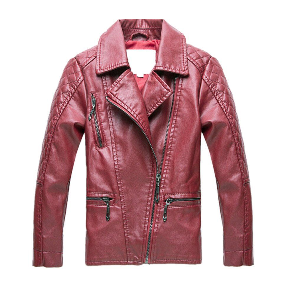 LJYH 2016 Spring Children's Leather Jacket with Lapel Kids