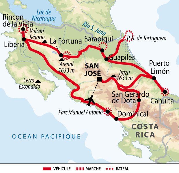 Itineraire Du Voyage Le Costa Rica En Liberte Costa Rica Vacation Costa Rica Hotel Costa Rica Map