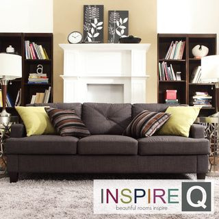 Middleton Collection Charcoal Linen Tufted Sloped Arm Sofa | Overstock.com Shopping - The Best Deals on Sofas & Loveseats